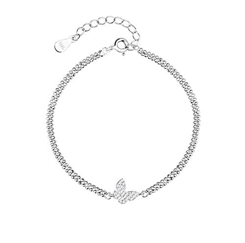 Pulsera ajustable de plata de ley S925 con diseño de mariposa de doble diamante para mujer