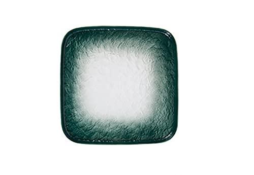 YANJ Plato Occidental, patrón de Piedra de Estilo nórdico, Plato Cuadrado de cerámica, Plato de Desayuno, Cubiertos, Plato Plano, Ensalada de Dim Sum, Verde, Azul, marrón