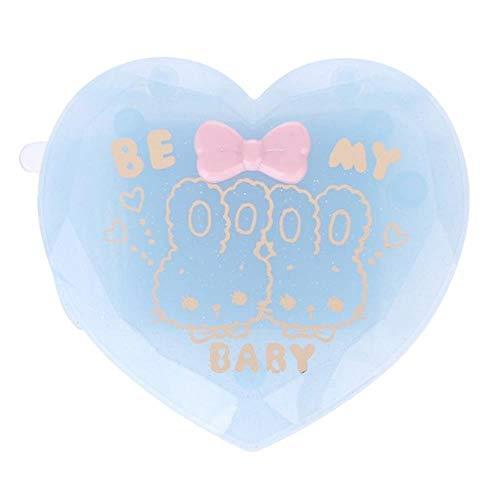 LASISZ Femmes Fille Brosse à Cheveux Pliante avec Miroir Compact Poche Format Voyage Peigne en Forme de Coeur Cadeau Mignon Mini Miroir de Poche, Bleu