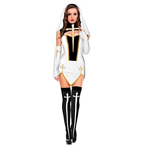Penes Sexuales para Mujer Sexy Monja Hermana Virgen María Monjas Disfraces Mujeres Adultas Halloween Cosplay Fiesta-Blanco_L