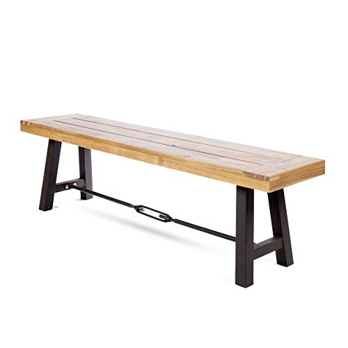 Christopher Knight Home Catriona Outdoor Acacia Wood Bench with Metal Accents, Teak Finish / Rustic Metal