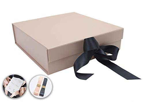 SketchGroup Gift Box with Ribbon and Lid for Luxury Packaging - Proposal Box - Sturdy Storage Box - Assortment l Black l l Pink l (Rose Gold)