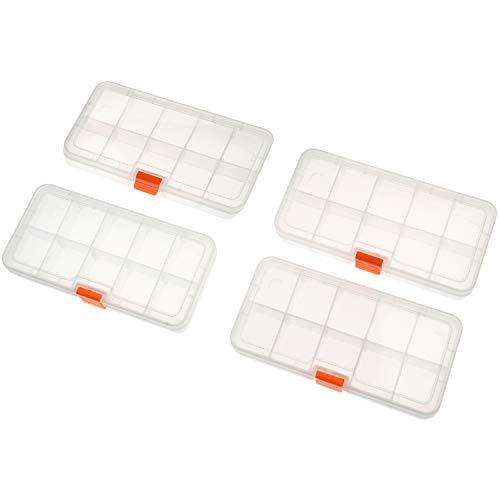 SOMELINE Caja de almacenamiento de plástico para piezas pequeñas, perlas, pendientes, joyero ajustable, 4 unidades, 10 rejillas