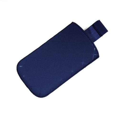 Valenta Etui offen - blau - mit Ausziehlasche & trendigem Karodesign für Motorola RAZR V3i