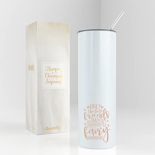 Onebttl Godmother Gifts, regalo de propuesta de madrina de hada, vaso aislado de acero inoxidable de 20 onzas con paja para mejor amiga, tía, promocionado a hada madrina - Rainbow White