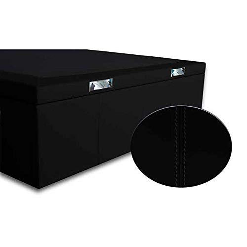 Ventadecolchones - Canapé Abatible Lisboa Gran Capacidad Tapizado en Polipiel Negro con Costuras Medidas 150cm x 190 cm