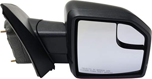 Kool Vue Mirror Compatible with Ford F-150 2015-2018 Passenger Side Power Non-Towing Manual Folding Non-Heated with Blind Spot Glass (Raptor To 2-26-2018) All Cab Types Textured Black