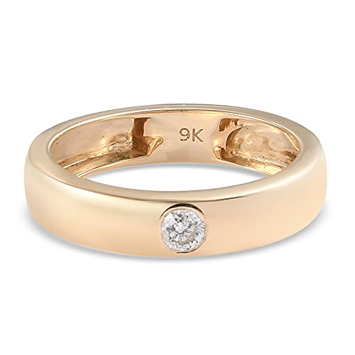 TJC White Diamond SGL Cerified Band Ring for Womens Wedding/Proposal/Anniversary Jewellery in 9ct Yellow Gold I1/G-H Size M April Birthstone