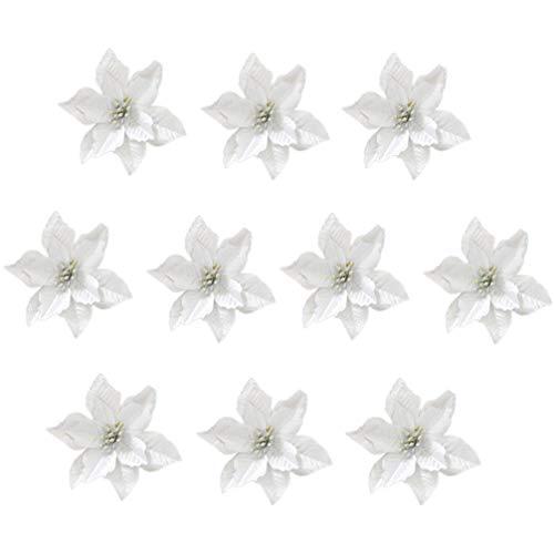 STOBOK 24 Pezzi Ornamenti per Albero di Natale Glitter Fiore Artificiale dargento per la Decorazione dellalbero di Natale