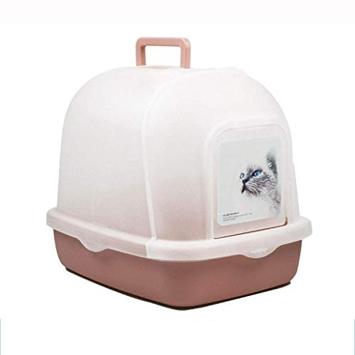 Comfortabel Zhoumei kattentolette, binnenkattentoilet grote capuchon gesloten kunststof kattenlo Pet Training WC Doorlaatbare Flip deur Easy Clean Portable (Kleur: roze, Maat: 51 * 39 * 43,5 cm) 51*39*43.5cm bruin