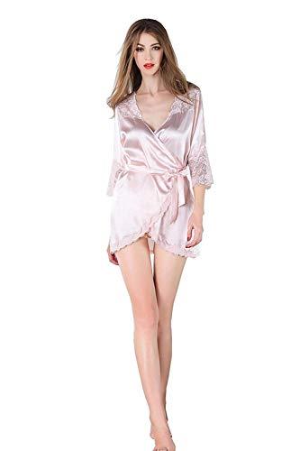Mujer Camisones Elegante Albornoz Mangas Bandage V-Cuello Medias Splice Encaje Modernas Casual Unicolor Batas Camison (Color : Meat Color, Size : 2XL)
