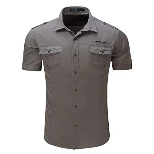 Camisa Cargo de Color sólido para Hombre Tendencia de la Moda Costuras de Todo fósforo Ropa de Calle de Dos Bolsillos Camisas de Manga Corta para Acampar al Aire Libre Informal L