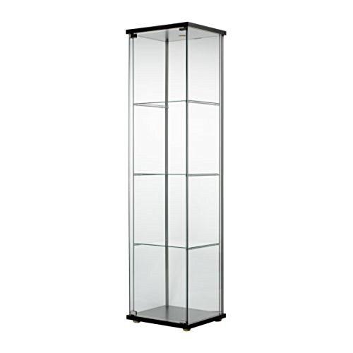 IKEA/イケア DETOLF/デトルフ ガラス扉キャビネット43x163 cm ブラックブラウン403.540.42