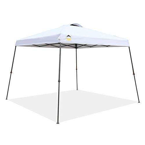 Crown Shades 10ft. x 10ft. Slant Leg One Push Up Clia Instant Folding Canopy with Wheeled Bag, White