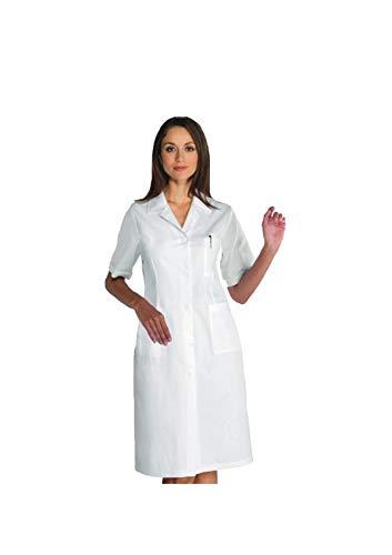 tessile astorino Bata sanitaria de trabajo blanca – uniforme de manga corta para mujer – Bata de laboratorio para doctora, médico, estructura sanitaria, enfermera, veterinario (XS) Color blanco. L