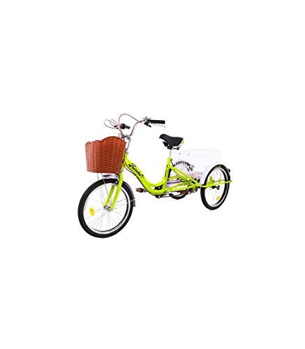 Riscko - Triciclo Adulto con Dos Cestas Bep-14 | Amarillo Fluor Montado...