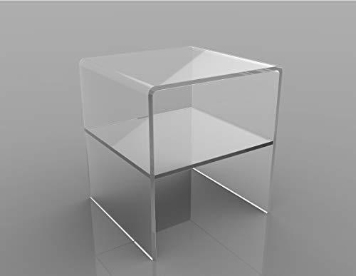 Tavolino comodino sgabello soggiorno salotto con mensola cm (Misure: cm H40 x L35 x P35 - Spessore 8mm)