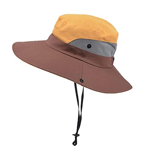 EliteMill Sombrero de sol plegable para mujer, con malla ajustable de ala ancha, sombrero de playa con agujero para coleta, para pesca al aire libre, camping, senderismo, viajes, playa