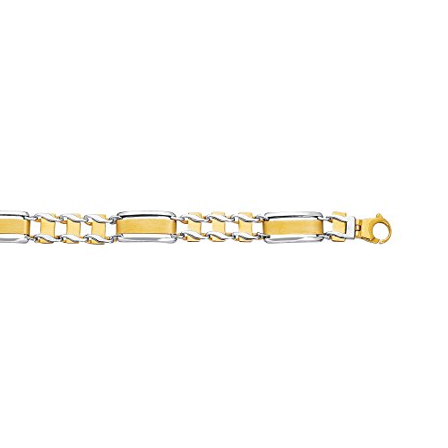 14K amarillo+oro blanco 8.5 pulgadas brillante tipo ferrocarril hombres s Rolex pulsera