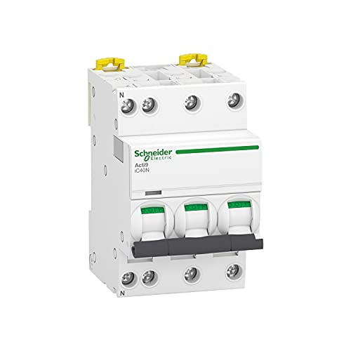 Acti9 IC40N, interruttore automatico in miniatura 3P+N, 20A, capacità di taglio 6000 A (IEC 60898-1), 10 kA (IEC 60947-2), curva C, 7,4 x 5,4 x 8,5 centimetri, bianco (riferimento: A9P54720)