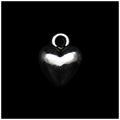 Pack of 80 3D Heart Charms Pendants Silver Craft Supplies for Jewelry Making Tibetan Accessories for Bracelets Necklace DIY