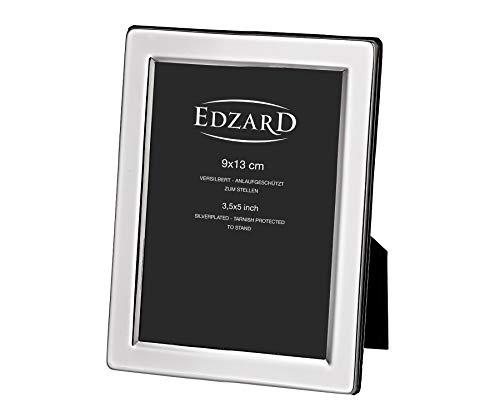 EDZARD Bilderrahmen Salerno für Foto 9 x 13 cm, edel versilbert, anlaufgeschützt, mit Samtrücken, Fotorahmen zum Stellen