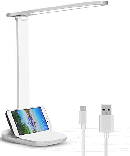 Lámpara Escritorio LED, Lámparas de Mesa USB Recargable Regulable, 2000mAh Plegable Luz Lámpara Escritorio (3 Modos, Función de Memoria, Control Táctil) para dormitorio, oficina, Cuidado de ojos