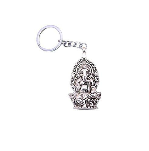 Llaveros cromados de moda y metal de color plateado vintage Ganesha elefante Buddha llavero accesorio