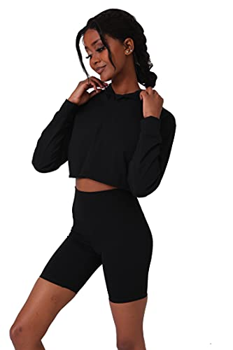 AMAR VIDA Black 2 Piece Workout Biker Tracksuit Outfits for Women Gym Crop Top Hoodies Skinny Shorts Hidden Pockets Yoga Sets Sweatsuits BLACK/4