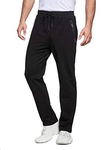 ZOXOZ Jogginghose Herren Baumwolle Trainingshose Männer Sporthose Herren Lang Fitness Hosen Herren mit Reißverschlusstaschen Schwarz XL