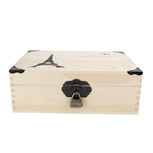 Caja de madera, cajas decorativas duraderas Caja de madera pequeña, cajas de almacenamiento decorativas Caja de almacenamiento pequeña con cerradura para monedas Certificado de joyería