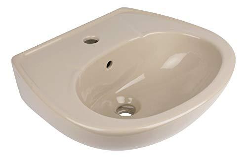 Calmwaters® - Handwaschbecken in Beige-Bahamabeige zur Wandmontage mit Überlauf und Hahnloch, 45 cm klein - 04AB2293