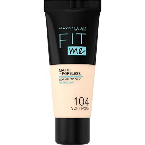 Maybelline New York, Base de Maquillaje que Calca a tu Tono Fit me! Mate y Afinaporos, Color: 104 Soft Ivory
