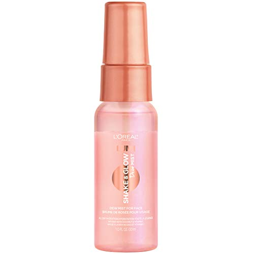 L'Oreal Paris Makeup LUMI Shake and Glow Dew Mist, Hydrating and Soothing Face Mist, Prep and Set Makeup, Energizes Skin with a Healthy Boost of Hydration, Natural Finish, 1 fl; oz.