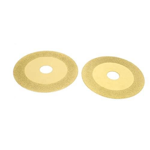 X-DREE 4' 'x 3/4' 'Disco de corte de diamante pulido de azulejo de vidrio Tono dorado 2 piezas(4' x 3/4' Glass Tile Diamond Coated Grinding Cutting Disc Gold Tone 2 Pcs