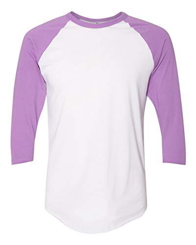 American Apparel Unisex Poly-Cotton 3/4-Sleeve Raglan T-Shirt L WHITE/ ORCHID