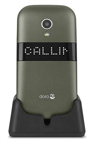 Doro 6050 Téléphone Portable pour Seniors 2G Débloqué à Clapet avec Grandes Touches, Touche d'Assistance et Socle Chargeur Inclus [Version Française] (Champagne/Blanc)