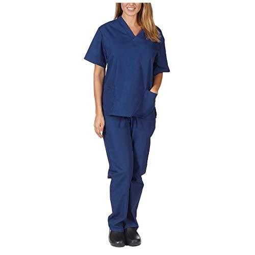 Zilosconcy Arbeitskleidung Kurzarm T-Shirts V-Ausschnitt + Hosen Pflege Set Medizin Arzt Berufsbekleidung Krankenschwester Kleidung Damen Uniformen Oberteil mit Tasche Unisex DunkelblauS