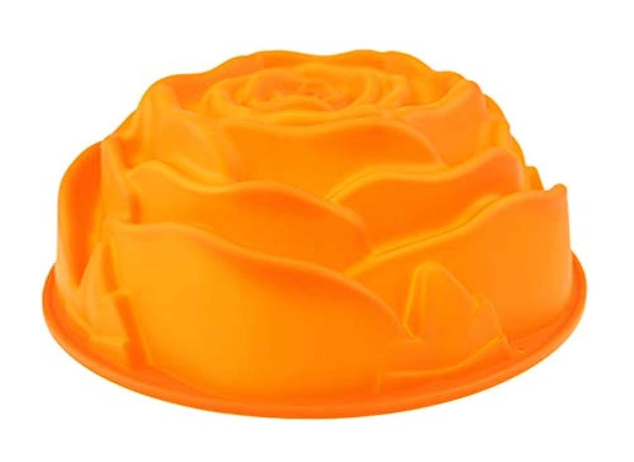 Water Hep Muffin Pan 1Pcs 23.5cm Silicone Cake Pan Bundt Cake Mold Silicone Baking Pan Dish Silicone Form For Baking Rose Shape Cake Mold Orange