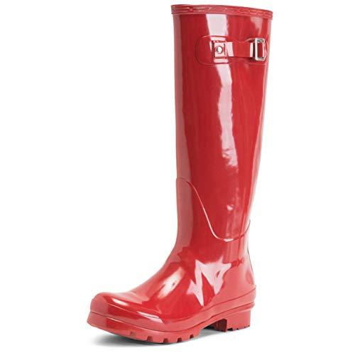 Polar Damen Original Tall Gloss Winter Wasserdicht Regen Gummistiefel Stiefel - Dunkelrot - DRE38 ABL0039