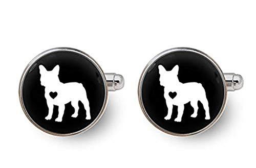 French Bulldog Cufflinks, Dog Cufflinks French Bulldog Cuff Links,Dome Glass Ornaments, Gifts for him