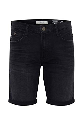 Blend Grilitsch Pantalón Corto Vaqueros para Hombre Elástico Slim-Fit, tamaño:L, Color:Denim Black (76204)