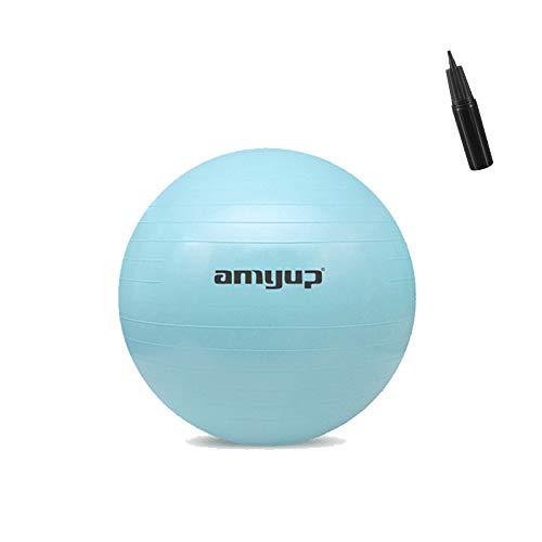 Balón para Ejercicios de Fitness, Pelota de Gimnasia Pilates con Bomba de Aire Manual, Equilibrio 55cm/65cm (Verde, 55CM)