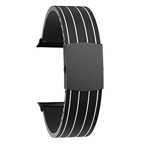 SOUWILA Compatible con Silicona Correa Reloj 38 mm 40 mm 42 mm 44 mm iWatch Series 6/5/4/3/2/1 Caucho Correa Reloj con Acero Inoxidable Hebilla Desplegable (42mm, White-Black)