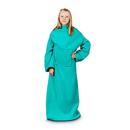 Froster Decke Bademantel Junior, weiche tragbare Decke mit Ärmeln für Kinder im Schulalter, Minzgrün