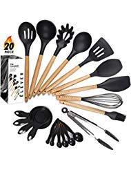 Kitchen Utensil Set - 9 Silicone Cooking Utensils for Non-stick Cookware. Wood Kitchen Utensils. BPA Free, Silicone Spatula Wooden Spoons Set Tongs. Best Chef Kitchen Gadgets Tool Set Gifts - ÉLEVER