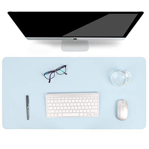 Multifunktionales Office Mauspad, YSAGi Wasserdichte Schreibtischunterlage aus PU-Leder, Ultradünnes Mousepad zweiseitig nutzbar, ideal für Büro und Zuhause (Genäht - Sky Blue Single, 80 * 40 cm)