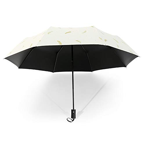 Drehome Sun Rain Umbrella UV Protection Compact, Automatic Foding Travel Umbrella Portable Windproof Rainproof Parasol Sun Umbrella for Walking Black Anti-UV Coating White