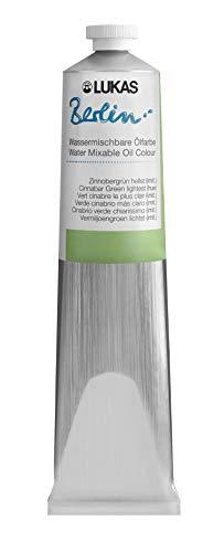 Lukas Berlin Oil 200 ml – Pintura al óleo mezclable en agua de calidad premium – Color verde pino claro (imitación)