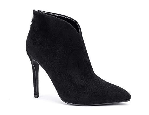 Greatonu Damskie buty typu Close Pointy Toe Szpilka Wysokie obcasy zamszowe botki seksowne damskie zapinane na zamek w kształcie V botki, - Czarny - 38 EU